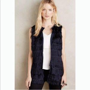 Eva Franco Navy Tiered Fringe Vest. Size M